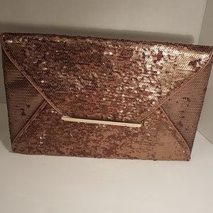 BCBGMaxAzria Envelope Clutch Purse Bronze Sequins
